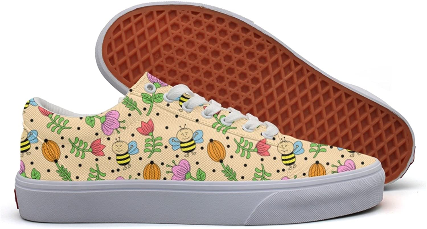 Little Bees And Flowers Womens Latest Canvas Tennis shoes Low Top Exclusive Athletic Sneakers For Women's