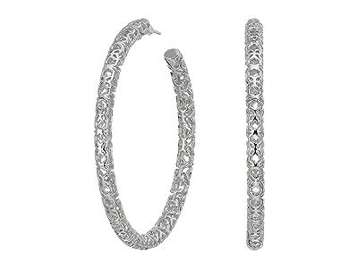 Kendra Scott Maggie 2.5 Hoop Earrings (Rhodium Filigree Metal) Earring