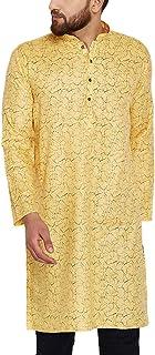 Sojanya Men's Cotton Linen Kurtas XX-Large Yellow