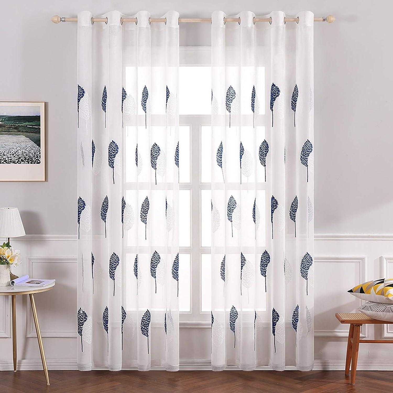 big savings MIULEE 21 Panels Leaves Embroidery Sheer Curtains ...
