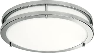 Best LB72119 LED Flush Mount Ceiling Light, 12 inch, 15W (150W Equivalent) Dimmable 1200lm, 4000K Cool White, Brushed Nickel Round Lighting Fixture for Kitchen, Hallway, Bathroom, Stairwell Review