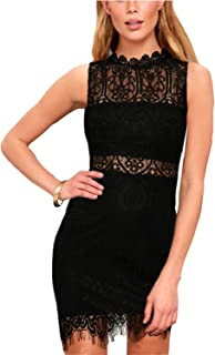 Women's Elegant Sleeveless High Neck Floral Lace Cocktail Party Dress