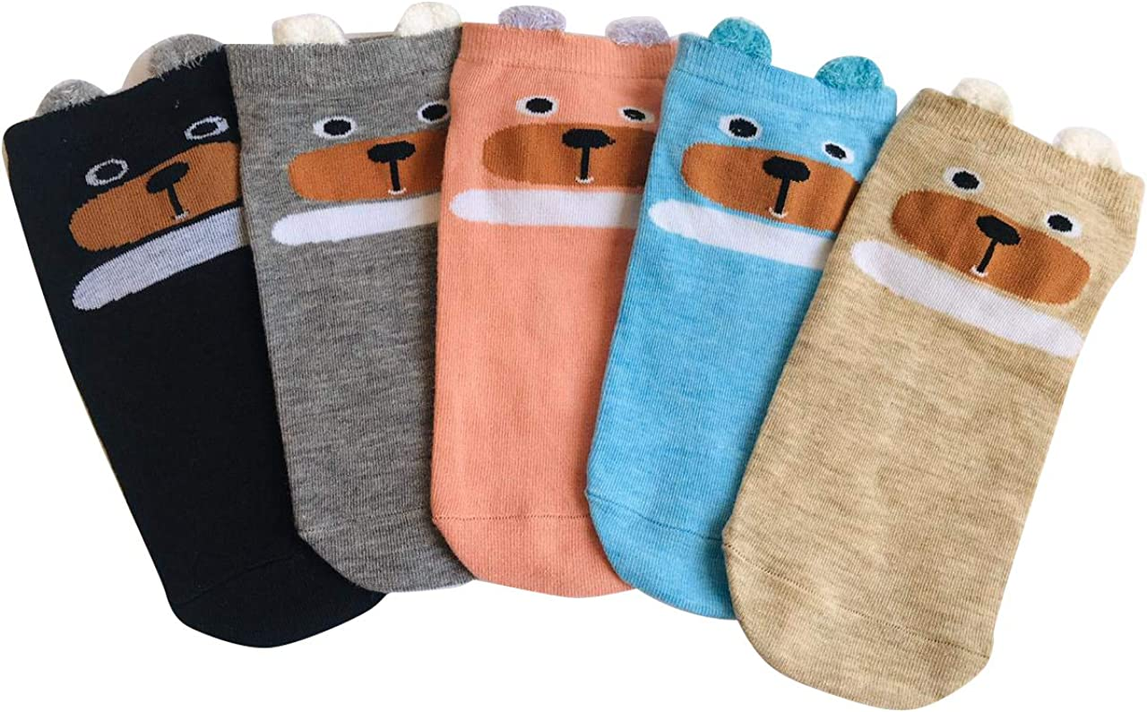 5 Pairs Women's Animal Socks- Novelty Socks-Cute Funny Multicolor Dog Socks- Casual Socks-Ankle Socks-Low Cut Socks