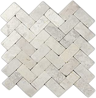 Cream Herringbone Stone Mosaic Tile 1 piece