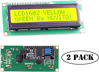 NOYITO 1602 16x2 LCD Module Shield Yellow-Green Backlight with IIC I2C Driver Serial Interface for UNO R3 MEGA2560 (Pack of 2) (1602 IIC Screen Yellow-Green)