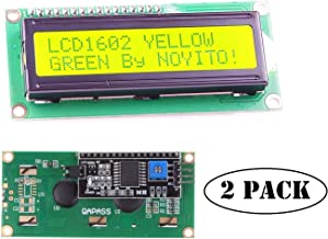 NOYITO 1602 16x2 LCD Module Shield Yellow-Green Backlight with IIC I2C Driver Serial Interface for Arduino UNO R3 MEGA2560 (Pack of 2) (1602 IIC Screen Yellow-Green)