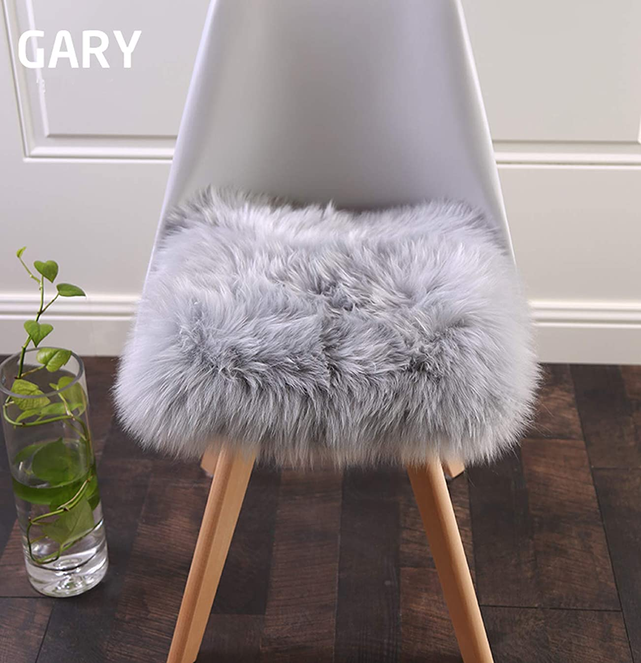 Super Soft Faux Fur Sheepskin Rugs Soft Plush seat Cover Pads for Chair Living & Bedroom Sofa Grey,16x16 Inch