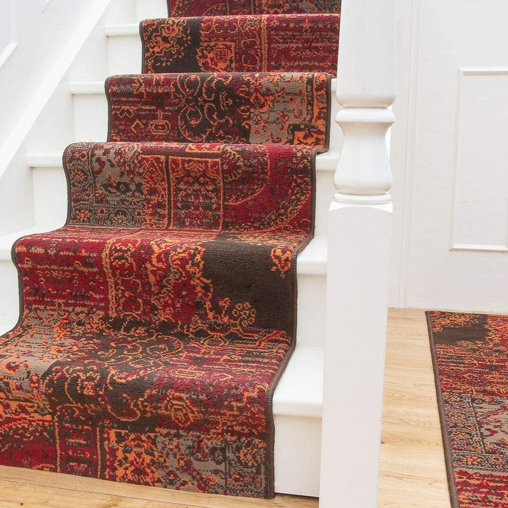 Traditional Red Orange Brown Patchwork M Stair Affordable Ranking TOP11 Phoenix Mall Carpet