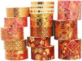 YUBX 15 Rouleaux Washi Tape Ruban Adhésif Papier Décoratif Masking Tape pour Scrapbooking Artisanat de Bricolage (Fierce F...
