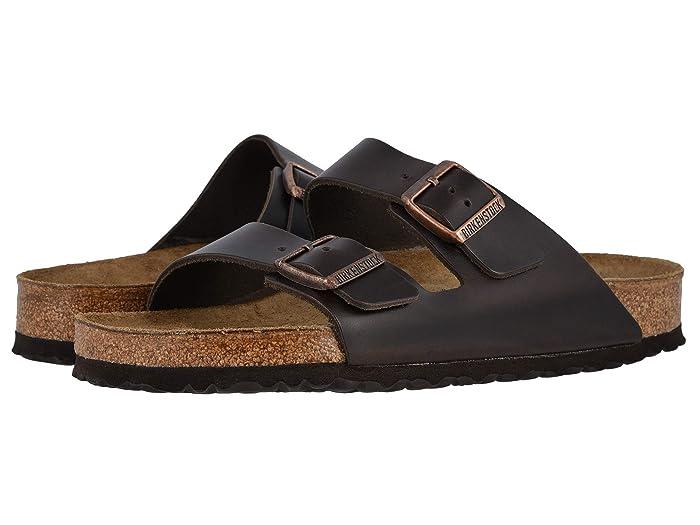 Birkenstock  Arizona Soft Footbed - Leather (Unisex) (Brown Amalfi Leather) Sandals