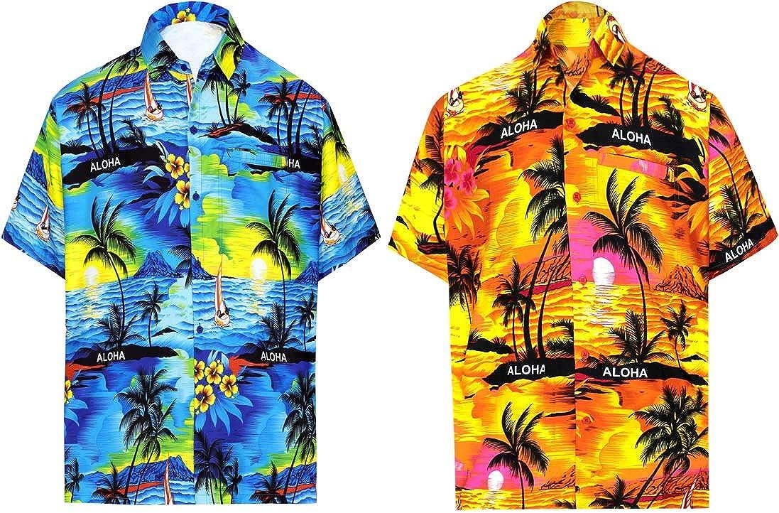 LA LEELA Men's Camp Palm Tree Button Up Short Sleeve Hawaiian Shirt XL Work from Home Clothes Men Pack of 2