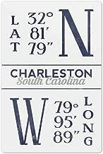 Lantern Press Charleston, South Carolina - Latitude and Longitude (Blue) 66820 (6x9 Aluminum Wall Sign, Wall Decor Ready to Hang)
