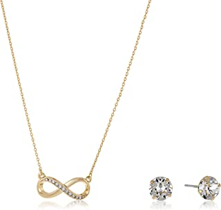 Mestige Necklace and Earrings For Women, Gold - MSSE3091