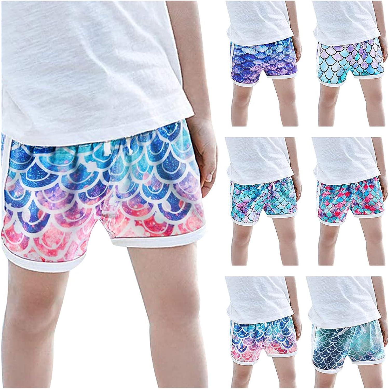 cakoqu Girls' Active Shorts Light Athletic Gym Shorts Rainbow Fish Scale Print Beach Yoga Running Sports (1-5Y)