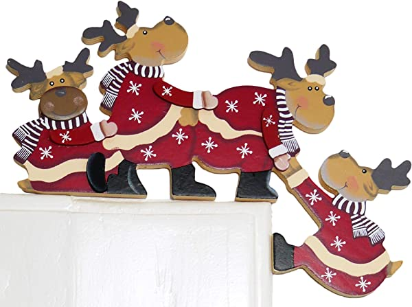 Khevga Christmas Door Decoration Funny Tumbling Moose For Door Frames
