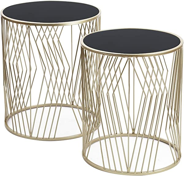 Adeco FT0257 Silver Decorative Nesting Round Side Accent Plant Stand Chair For Bedroom Living Room And Patio Set Of 2 End Tables Champagne Silver Black Glass