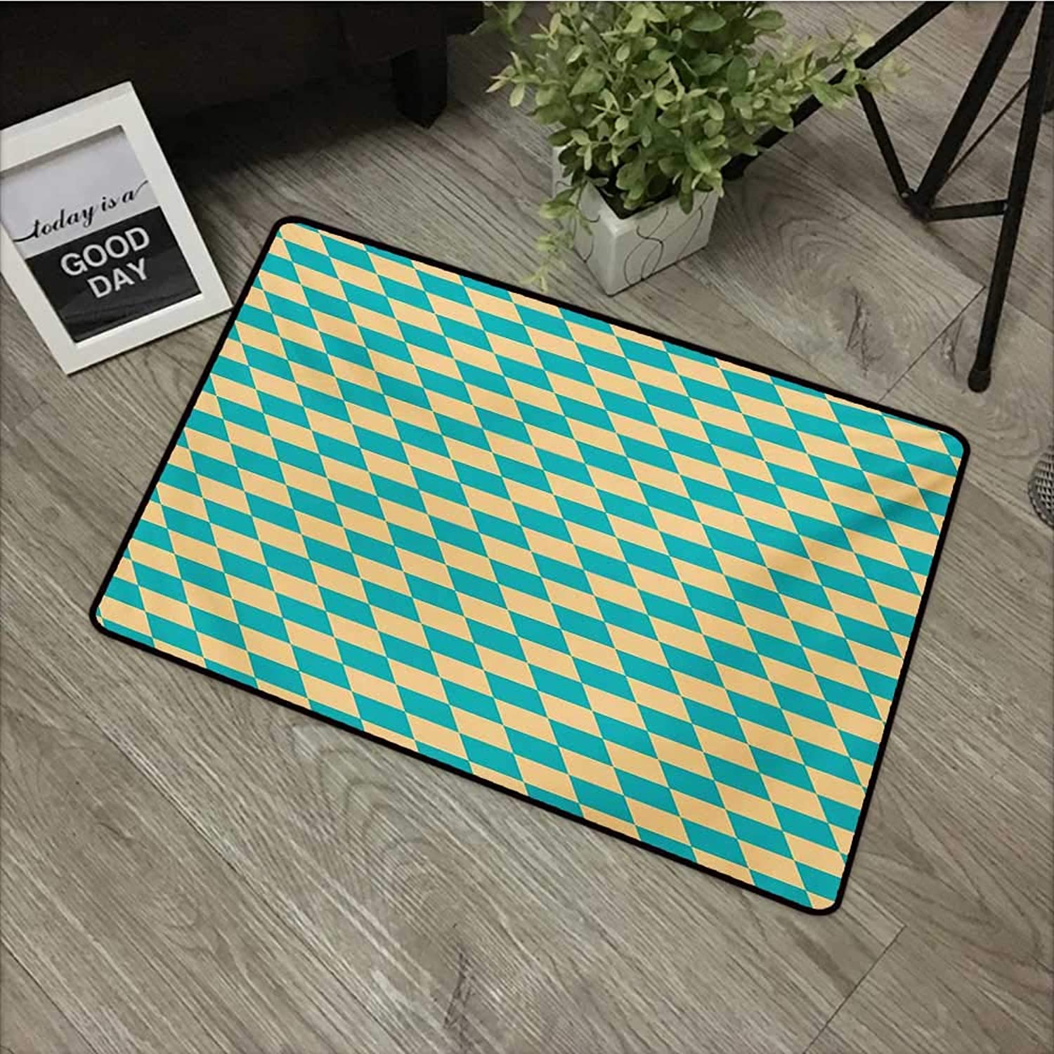 Bathroom Anti-Slip Door mat W35 x L59 INCH Geometric,Art Deco Style Chess Table Dart Like Horizontal Vintage Image,Turquoise and Pale Yellow with Non-Slip Backing Door Mat Carpet