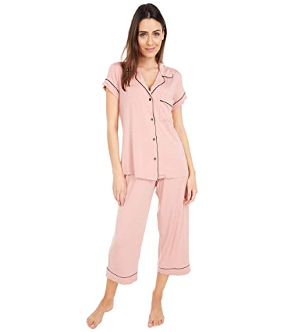 Eberjey Gisele The Cropped Pajama Set (Rose Tan/Black) Women