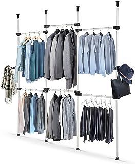 Organisateur de garde-robe télescopique, porte-vêtements sur rail suspendu, 4 pôles, 6 barres, hauteur réglable, étagères ...