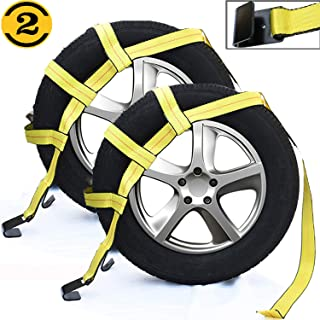 MotorbyMotor Tow Dolly Straps with Flat Hooks (2 Pack) Tow Dolly Basket Strap, Car Tow Dolly, Wheel Tie Down Bonnet Wheel Net-Fit 14''-17'' Tires Wheels 10000 lbs Working Capacity