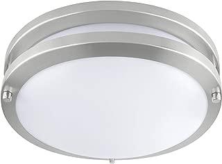 LB72171 LED Flush Mount Ceiling Light  10-Inch Modern, Dimmable, Round Light Fixture  Antique Brushed Nickel Finish  5000K Daylight, 17W, 1350 Lumens  ETL & DLC Listed, Energy Star  Indoors, Hallway,