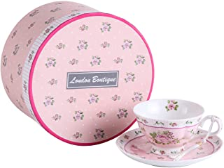 Coffee Tea cups and Saucers set Vintage Flora Rose Porcelain Gift Box (Rose Pink 1pc Set)