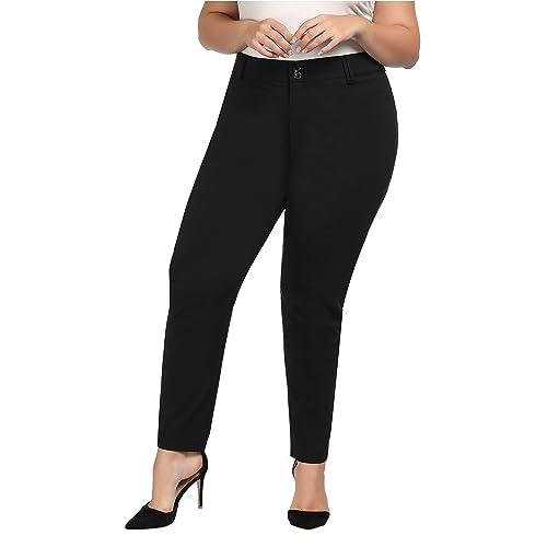 Women\'s Black Work Pants 26W: Amazon.com