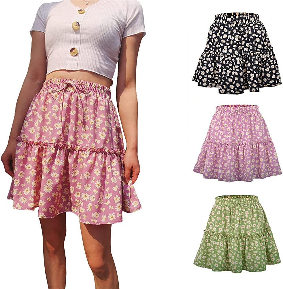 MOONMALLS Womens Mini Skater Skirt Fashion High Waisted Casual Versatile Stretchy Floral Printed Flared Skirt