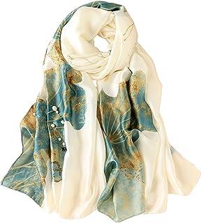 Women 100% Large Mulberry Silk Scarf Long Satin Scarf Fashion Designer Scarf Lightweight Wraps Gift Silk Scarf Printed Sil...
