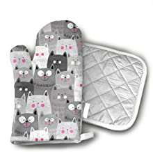 Cute Cats Oven Mitts Kitchen Gloves and Pot Holders 2pcs for Kitchen Set with Cotton Neoprene Silicone Non-Slip Grip,Heat ...