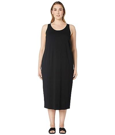 Eileen Fisher Plus Size Viscose Jersey Scoop Neck Dress (Black) Women