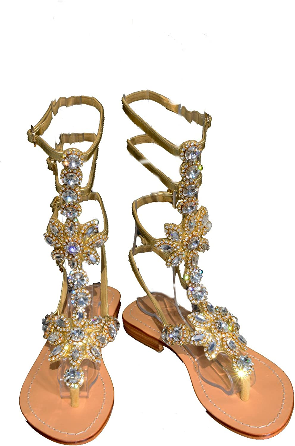PASHA HISINGEN Gladiator Clear gold Crystal Jeweled Leather Sandals