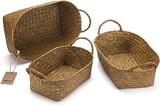 DOKOT Natural Seagrass Storage Baskets with Handles, Hand-Woven Fruit Baskets, Decorative Home Organizer, Small Basket Bin...