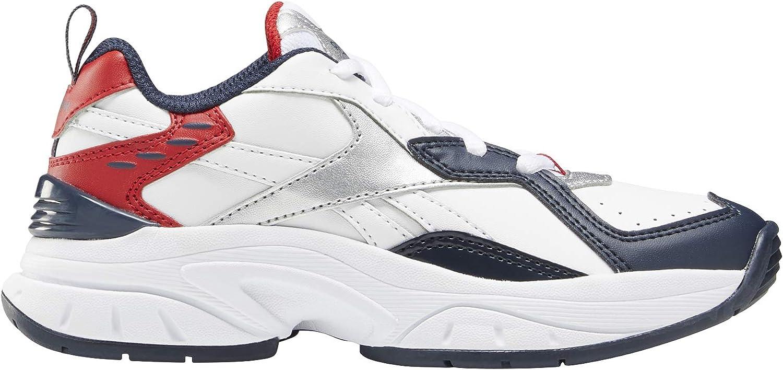 Reebok Xeona Boy's Shoes Running Athletics Training Sport Fitness Gym Fashion School Kids (White/Navy/Scarlet