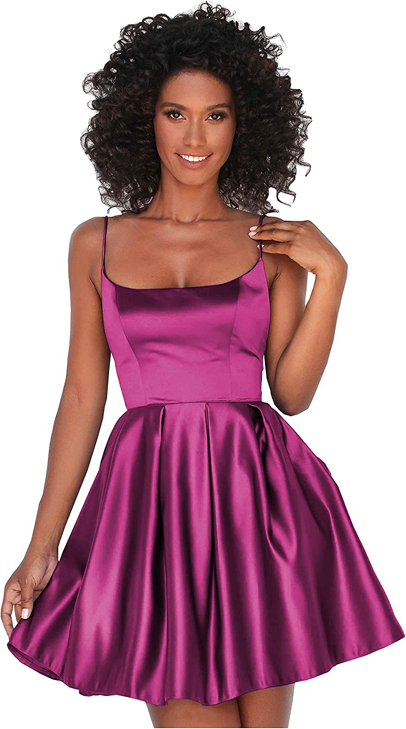 VCCICANY Scoop Neck A-Line Satin Homecoming Dress Short for Women Formal Prom Gown with Pockets