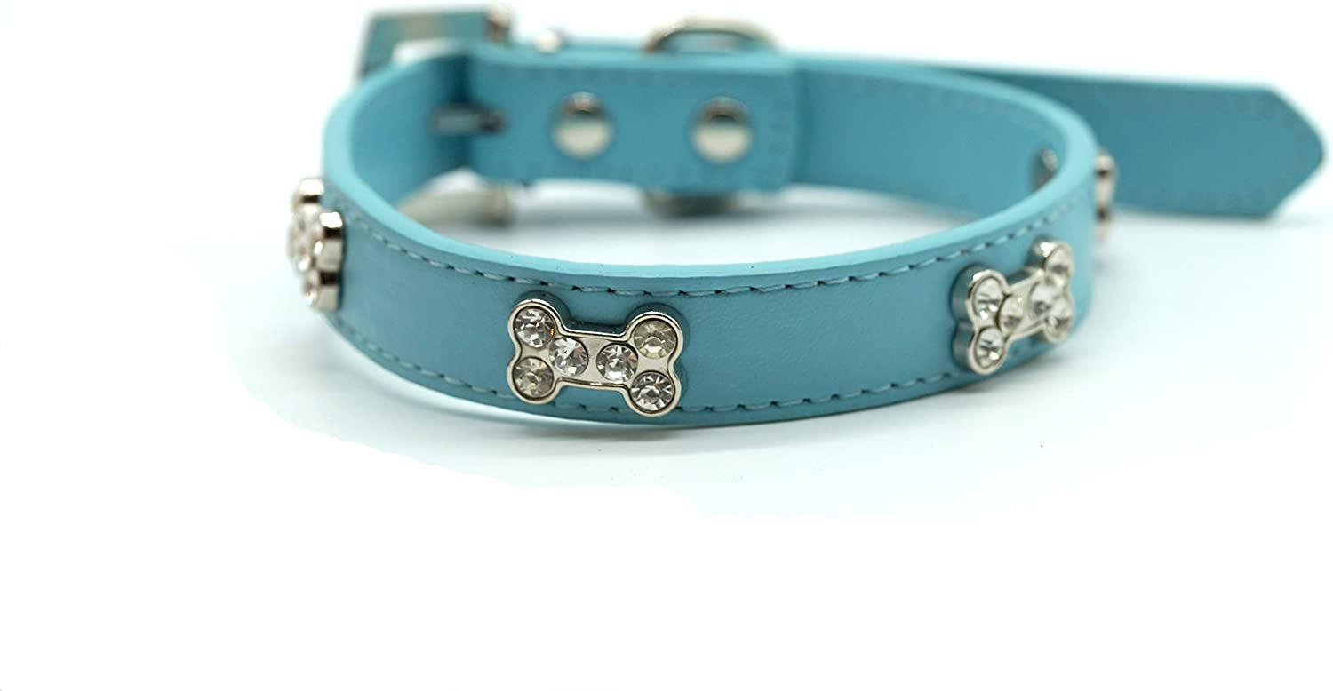 Diamante Bone Charm Leather Dog Collar (S, bluee)