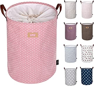 DOKEHOM 22-Inches Thickened X-Large Laundry Basket -(9 Colors)- with Durable Leather Handle, Drawstring Waterproof Round Cotton Linen Collapsible Storage Basket (Pink, XL)