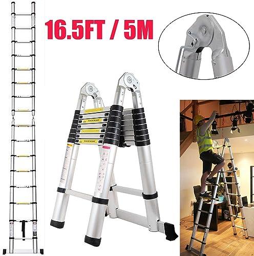16.5 Feet Aluminum Telescopic Extension A-Frame Ladder Extendable Folding 16 Steps Ladder Max 330 lbs Capacity Anti Slip