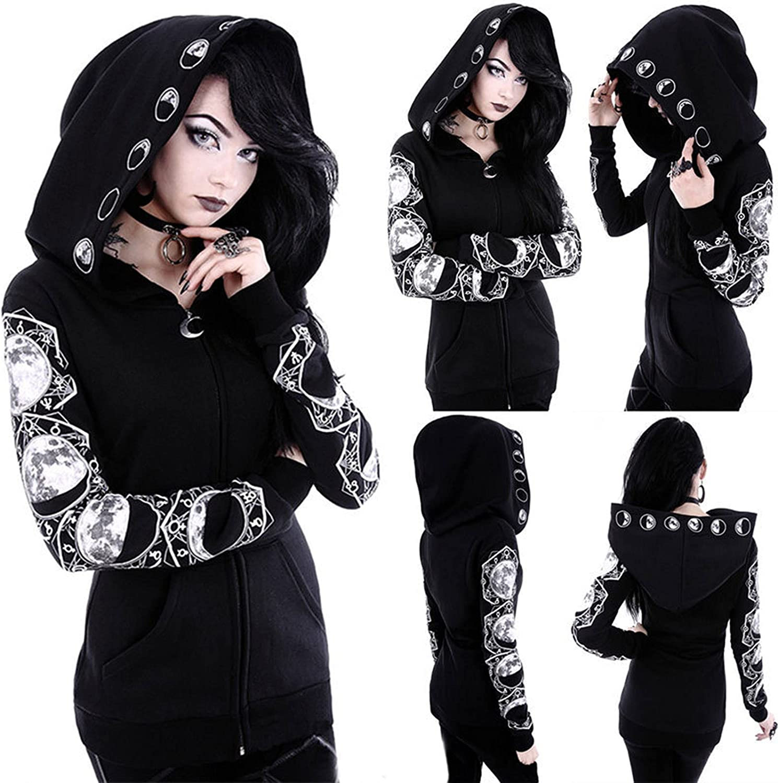 Womens Zipper Hoodie Black Long Sleeve Gothic Vintage Sweatshirt Punk Moon Print Coat Casual Pullover with Pockets