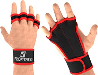 ProFitness Ventilated Cross Training Gloves with Wrist Support - Split Leather with Silicone Padding for Strong Grip + Pro...