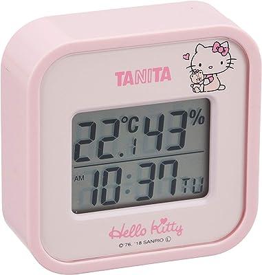 タニタ 温湿度計 時計 カレンダー 温度 湿度 デジタル 壁掛け 卓上 マグネット ハローキティ ピンク TT-558-KTPK 7.5×7.5cm