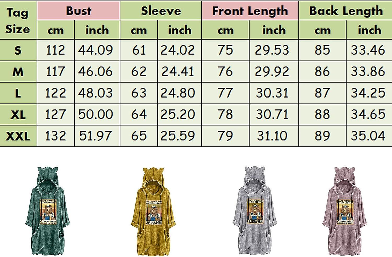 JMMSlmax Women's Cat Ears Printed Long Sleeve Hoodie Irregular Hem Sweater T-shirt Ladies Loose Pullover Sweatshirts
