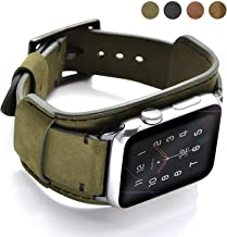 Coobes Compatible with Apple Watch Band 44mm 42mm Men Women Genuine Leather Compatible iWatch Bracelet Wristband Strap Com...