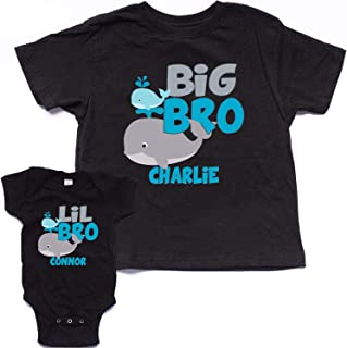 NanyCrafts Personalized Set Big-Lil Bro The Whale Shirt and Bodysuit