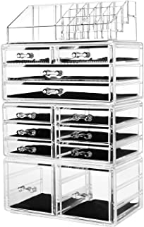 "hblife Makeup Organizer Acrylic Cosmetic Storage Drawers and Jewelry Display Box with 12 Drawers, 9.5"" x 5.4"" x 15.8"", 4 Piece"
