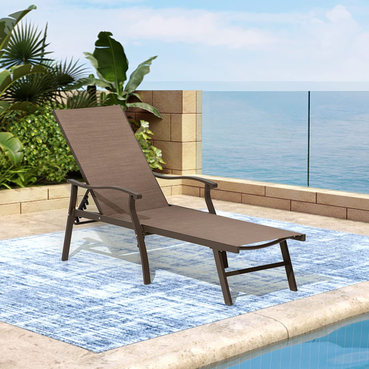 Outdoor Chaise Lounge Chair Adjustable 2021 Seattle Mall spring and summer new Reclining Aluminum Patio