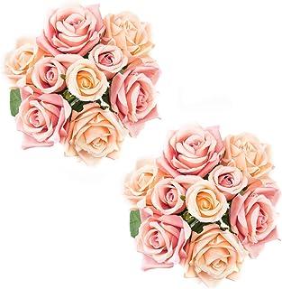 Lawei 2 Pack Künstliche Blumen 9 Stücke Rosen Brautstrauß Blumensträuße Seide Blumen für Hochzeit Garten Party Blumenschmuck