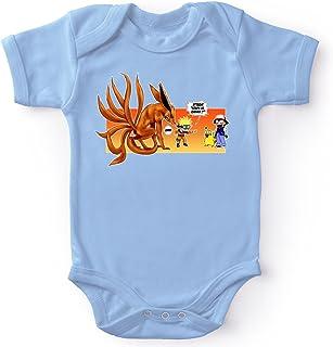 Body bébé Manches Courtes Garçon Bleu Parodie Naruto - Pokémon - Pikachu et Kyubi - Un Nouveau dresseur.(Body bébé de qua...