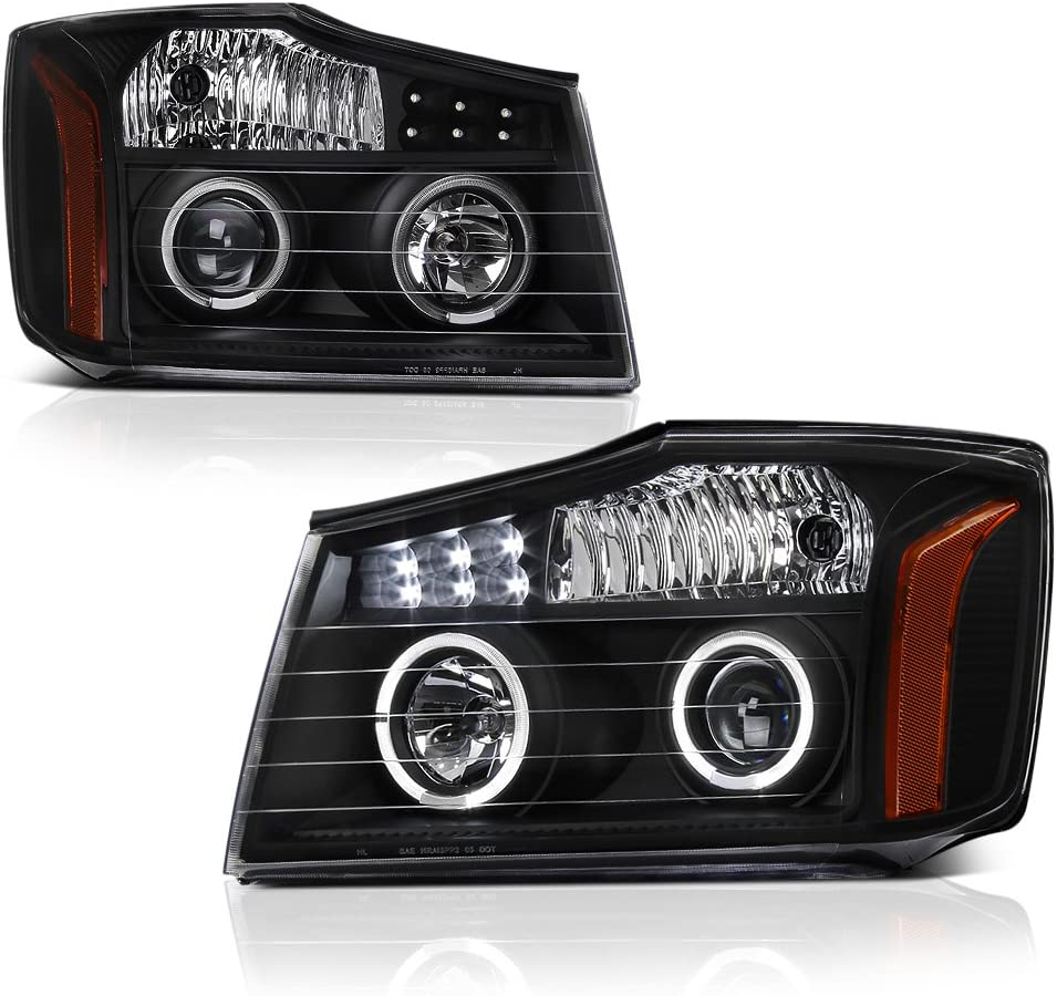 VIPMOTOZ LED 特別セール品 Strip DRL Halo Black Headlig Projector Housing 蔵 Ring