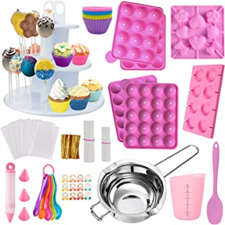 Cake Pop Maker Kit 454Pcs Silicone Lollipop Mold Set, Baking Supplies with 3 Tier Cake Stand, Chocolate Candy Melting Pot,...